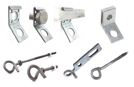 Anchoring brackets for ABC clamps, fixing galvanized bolts