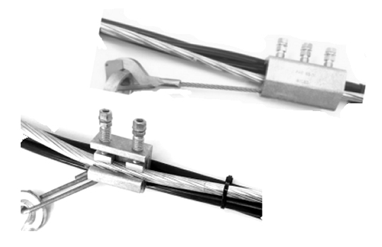 Anchoring clamps for ABC overhead insulated conductors fitted with steel messenger